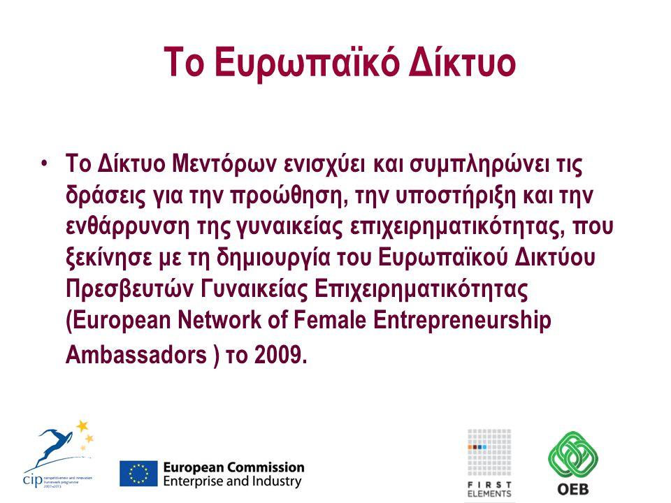 Το Ευρωπαϊκό Δίκτυο Το Δίκτυο Μεντόρων ενισχύει και συμπληρώνει τις δράσεις για την προώθηση, την υποστήριξη και την ενθάρρυνση της γυναικείας επιχειρηματικότητας, που ξεκίνησε με τη δημιουργία του Ευρωπαϊκού Δικτύου Πρεσβευτών Γυναικείας Επιχειρηματικότητας (European Network of Female Entrepreneurship Ambassadors ) το 2009.