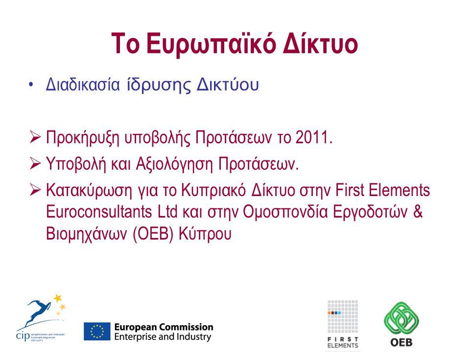 Το Ευρωπαϊκό Δίκτυο Διαδικασία ίδρυσης Δικτύου  Προκήρυξη υποβολής Προτάσεων το 2011.