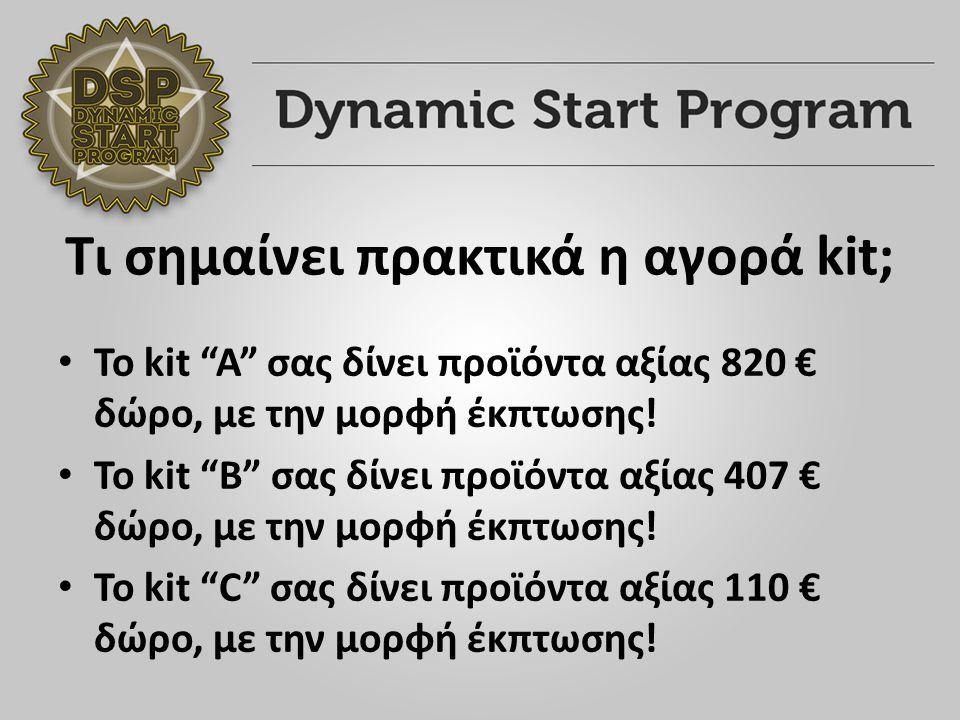 Τι σημαίνει πρακτικά η αγορά kit; Το kit A σας δίνει προϊόντα αξίας 820 € δώρο, με την μορφή έκπτωσης.