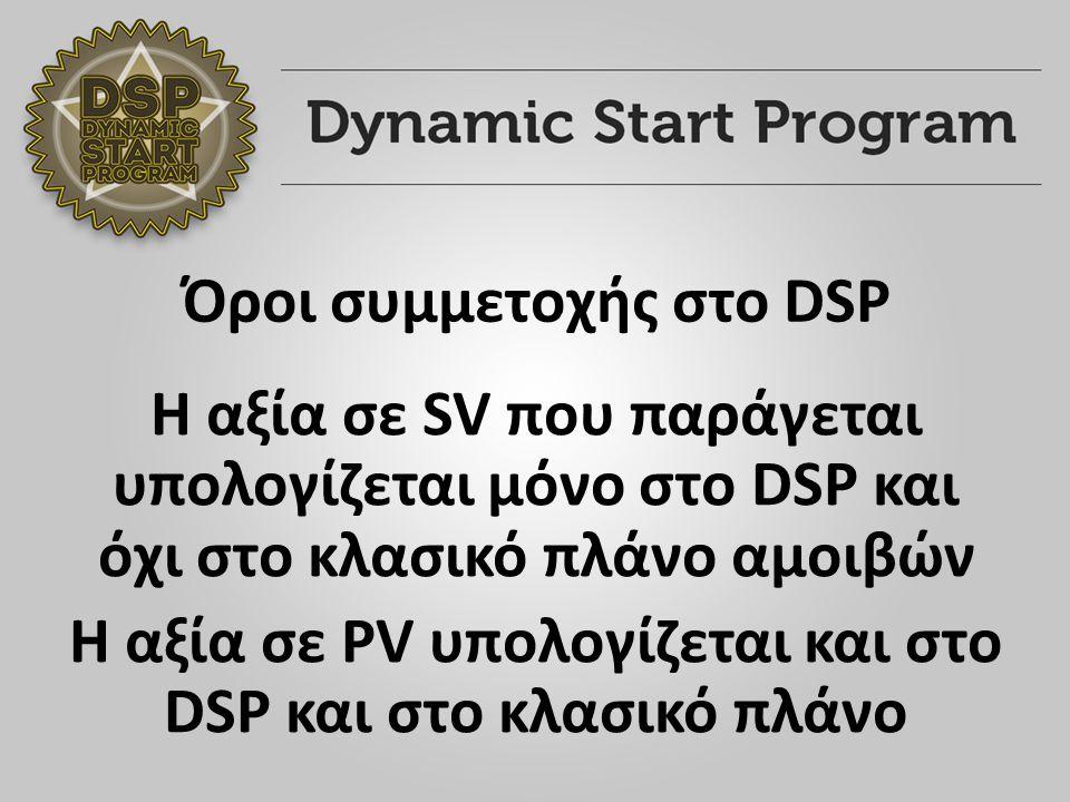 Η αξία σε SV που παράγεται υπολογίζεται μόνο στο DSP και όχι στο κλασικό πλάνο αμοιβών Η αξία σε PV υπολογίζεται και στο DSP και στο κλασικό πλάνο