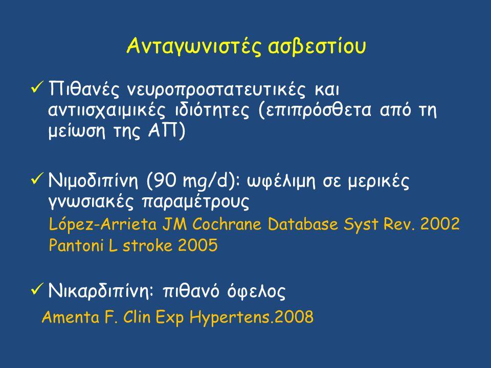 Ανταγωνιστές ασβεστίου Πιθανές νευροπροστατευτικές και αντιισχαιμικές ιδιότητες (επιπρόσθετα από τη μείωση της ΑΠ) Νιμοδιπίνη (90 mg/d): ωφέλιμη σε με
