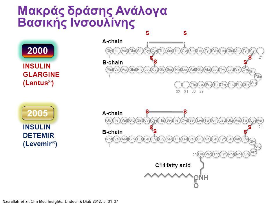 S S Μακράς δράσης Ανάλογα Βασικής Ινσουλίνης Nasrallah et al, Clin Med Insights: Endocr & Diab 2012; 5: 31–37 INSULIN GLARGINE (Lantus ® ) C14 fatty a