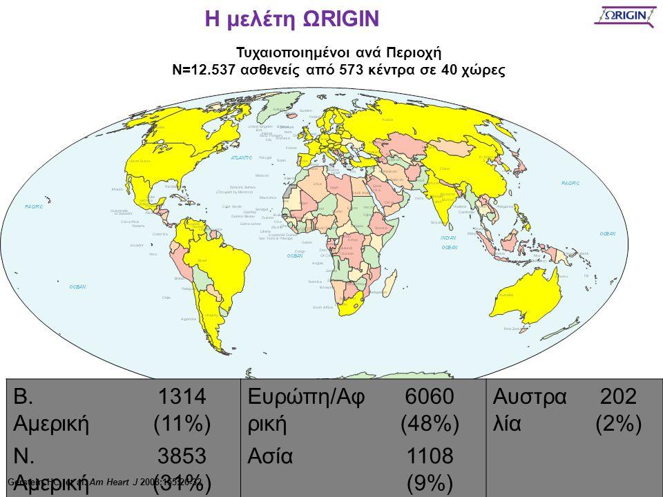 Τυχαιοποιημένοι ανά Περιοχή N=12.537 ασθενείς από 573 κέντρα σε 40 χώρες Β. Αμερική 1314 (11%) Ευρώπη/Αφ ρική 6060 (48%) Αυστρα λία 202 (2%) Ν. Αμερικ