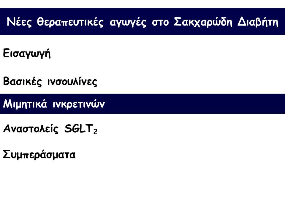 Νέες θεραπευτικές αγωγές στο Σακχαρώδη Διαβήτη Εισαγωγή Βασικές ινσουλίνες Συμπεράσματα Μιμητικά ινκρετινών Αναστολείς SGLT 2