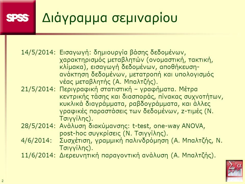 2 Διάγραμμα σεμιναρίου 14/5/2014:Εισαγωγή: δημιουργία βάσης δεδομένων, χαρακτηρισμός μεταβλητών (ονομαστική, τακτική, κλίμακα), εισαγωγή δεδομένων, απ