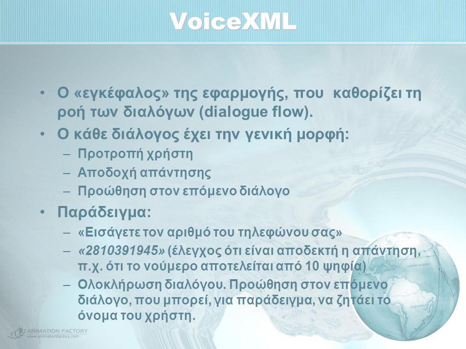 VoiceXML Ο «εγκέφαλος» της εφαρμογής, που καθορίζει τη ροή των διαλόγων (dialogue flow). Ο κάθε διάλογος έχει την γενική μορφή: –Προτροπή χρήστη –Αποδ