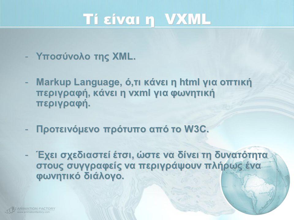Τί είναι η VXML -Υποσύνολο της XML. -Markup Language, ό,τι κάνει η html για οπτική περιγραφή, κάνει η vxml για φωνητική περιγραφή. -Προτεινόμενο πρότυ