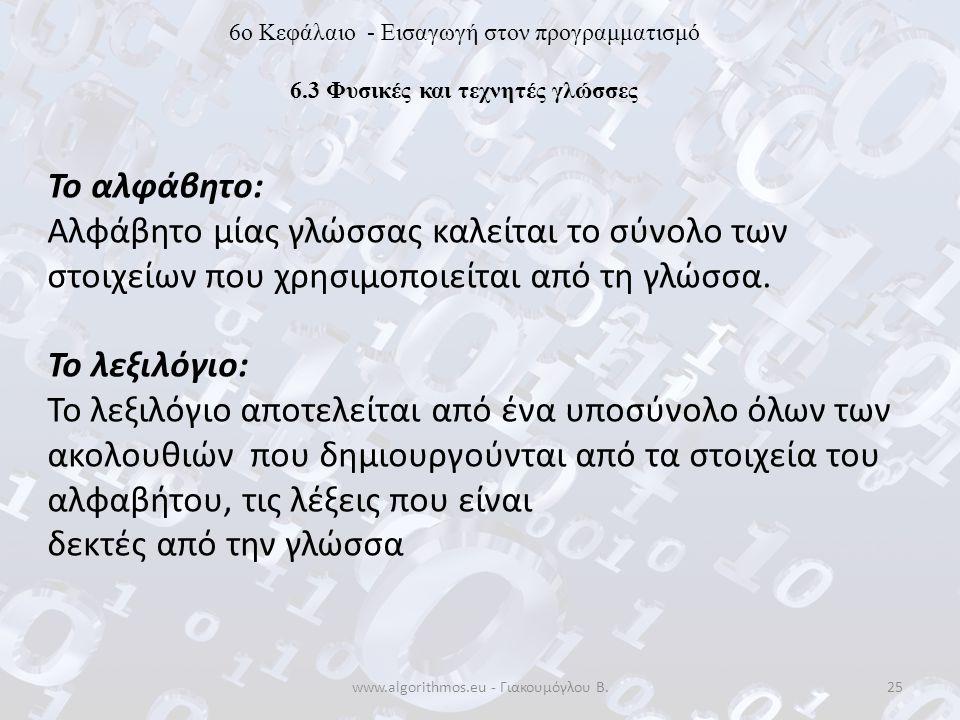 www.algorithmos.eu - Γιακουμόγλου Β.25 6o Κεφάλαιο - Εισαγωγή στον προγραμματισμό 6.3 Φυσικές και τεχνητές γλώσσες Το αλφάβητο: Αλφάβητο μίας γλώσσας