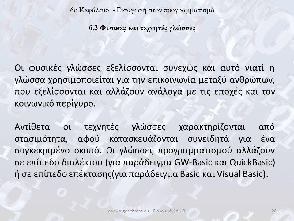 www.algorithmos.eu - Γιακουμόγλου Β.28 6o Κεφάλαιο - Εισαγωγή στον προγραμματισμό 6.3 Φυσικές και τεχνητές γλώσσες Οι φυσικές γλώσσες εξελίσσονται συν