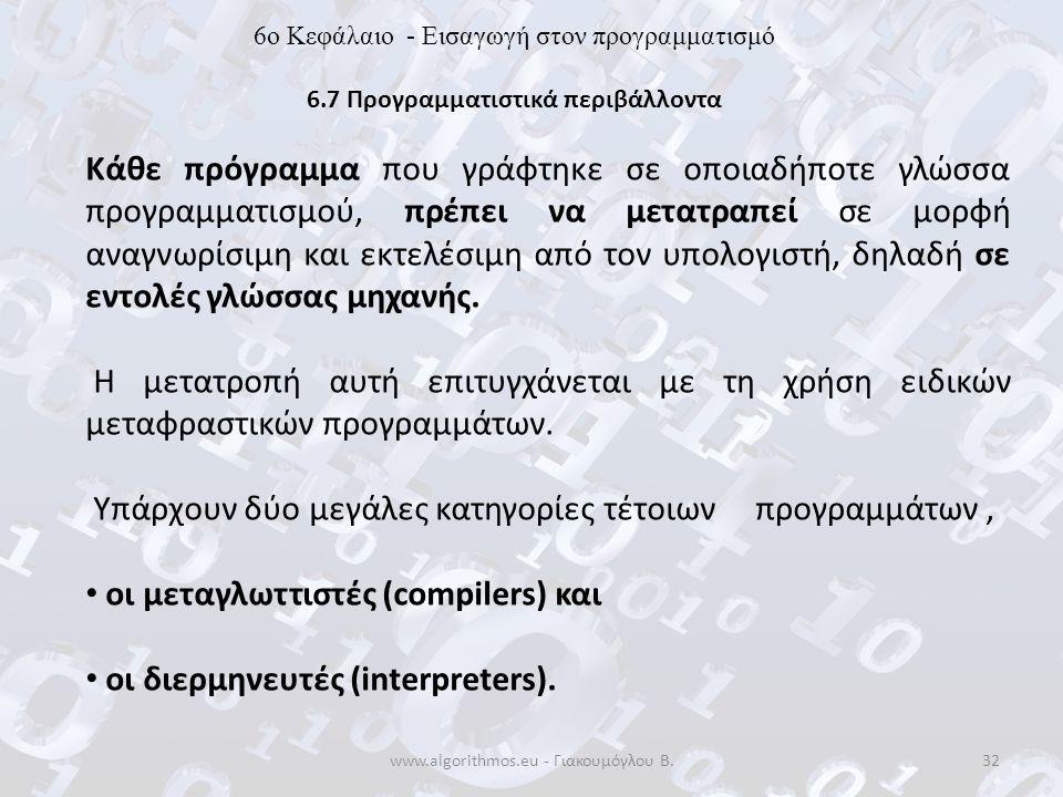www.algorithmos.eu - Γιακουμόγλου Β.32 6o Κεφάλαιο - Εισαγωγή στον προγραμματισμό 6.7 Προγραμματιστικά περιβάλλοντα Κάθε πρόγραμμα που γράφτηκε σε οπο