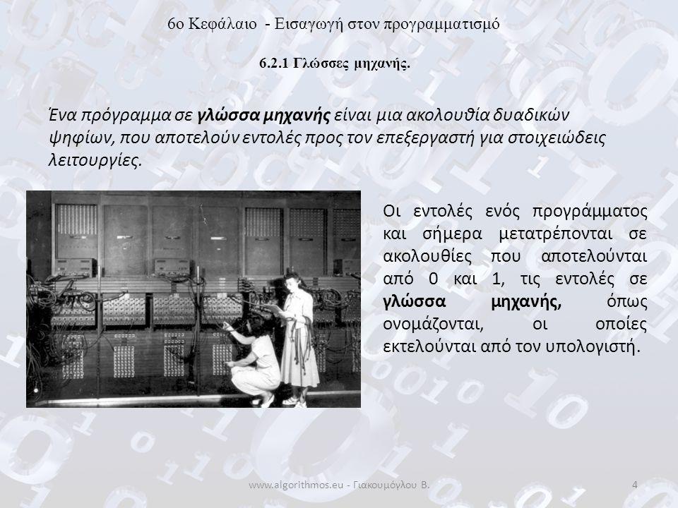 www.algorithmos.eu - Γιακουμόγλου Β.35 6o Κεφάλαιο - Εισαγωγή στον προγραμματισμό 6.7 Προγραμματιστικά περιβάλλοντα Συντακτικά και λογικά σφάλματα Ο μεταγλωττιστής ή ο διερμηνευτής ανιχνεύει λοιπόν τα λάθη και εμφανίζει κατάλληλα διαγνωστικά μηνύματα.
