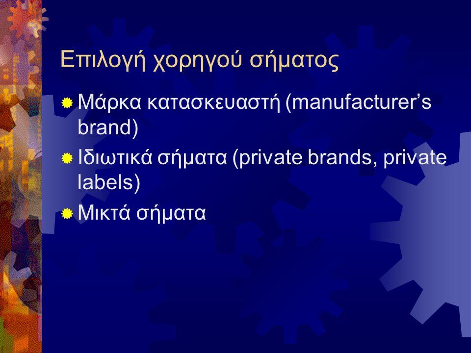 Επιλογή χορηγού σήματος  Μάρκα κατασκευαστή (manufacturer's brand)  Ιδιωτικά σήματα (private brands, private labels)  Μικτά σήματα