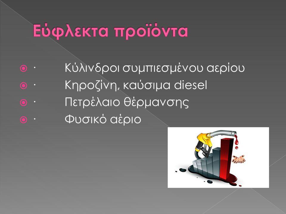  · Κύλινδροι συμπιεσμένου αερίου  · Κηροζίνη, καύσιμα diesel  · Πετρέλαιο θέρμανσης  · Φυσικό αέριο