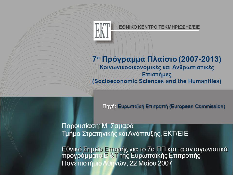 Παρουσίαση: Μ. Σαμαρά Τμήμα Στρατηγικής και Ανάπτυξης, ΕΚΤ/ΕΙΕ Εθνικό Σημείο Επαφής για το 7ο ΠΠ και τα ανταγωνιστικά προγράμματα Ε &Τ της Ευρωπαϊκής