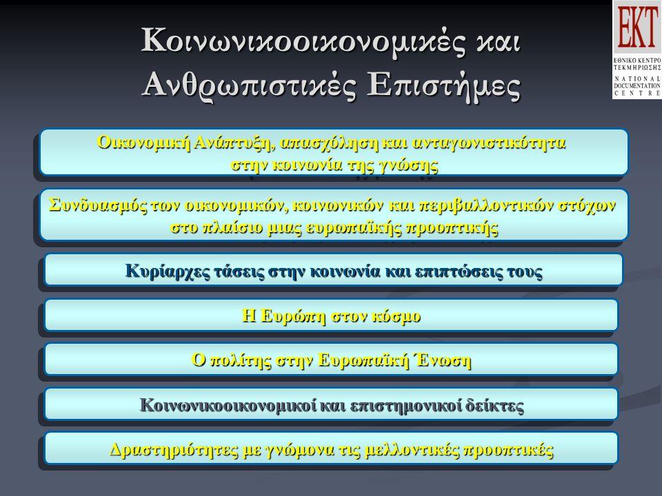 Κοινωνικοοικονομικές και Ανθρωπιστικές Επιστήμες Οικονομική Ανάπτυξη, απασχόληση και ανταγωνιστικότητα στην κοινωνία της γνώσης Οικονομική Ανάπτυξη, απασχόληση και ανταγωνιστικότητα στην κοινωνία της γνώσης Συνδυασμός των οικονομικών, κοινωνικών και περιβαλλοντικών στόχων στο πλαίσιο μιας ευρωπαϊκής προοπτικής Συνδυασμός των οικονομικών, κοινωνικών και περιβαλλοντικών στόχων στο πλαίσιο μιας ευρωπαϊκής προοπτικής Κυρίαρχες τάσεις στην κοινωνία και επιπτώσεις τους Η Ευρώπη στον κόσμο Ο πολίτης στην Ευρωπαϊκή Ένωση Κοινωνικοοικονομικοί και επιστημονικοί δείκτες Δραστηριότητες με γνώμονα τις μελλοντικές προοπτικές