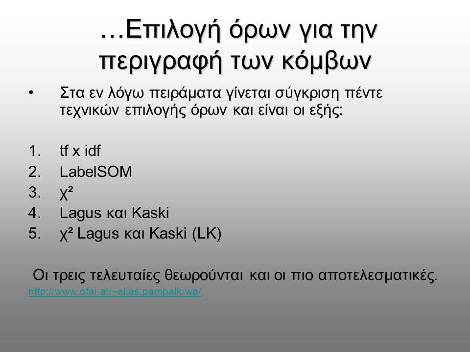 …Επιλογή όρων για την περιγραφή των κόμβων …Επιλογή όρων για την περιγραφή των κόμβων Στα εν λόγω πειράματα γίνεται σύγκριση πέντε τεχνικών επιλογής όρων και είναι οι εξής: 1.tf x idf 2.LabelSOM 3.χ² 4.Lagus και Kaski 5.χ² Lagus και Kaski (LK) Οι τρεις τελευταίες θεωρούνται και οι πιο αποτελεσματικές.