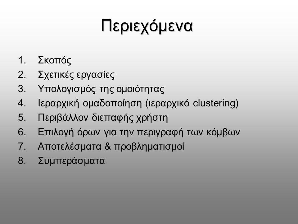 Περιεχόμενα 1.Σκοπός 2.Σχετικές εργασίες 3.Υπολογισμός της ομοιότητας 4.Ιεραρχική ομαδοποίηση (ιεραρχικό clustering) 5.Περιβάλλον διεπαφής χρήστη 6.Επιλογή όρων για την περιγραφή των κόμβων 7.Αποτελέσματα & προβληματισμοί 8.Συμπεράσματα