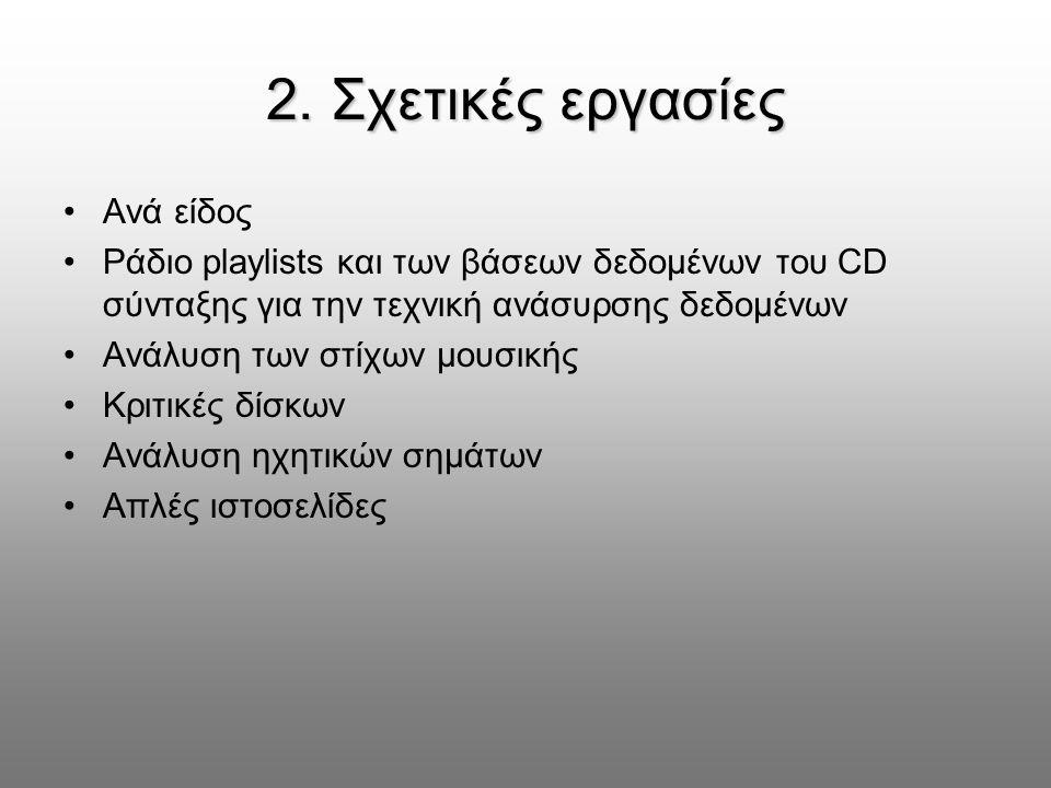 2. Σχετικές εργασίες Ανά είδος Ράδιο playlists και των βάσεων δεδομένων του CD σύνταξης για την τεχνική ανάσυρσης δεδομένων Ανάλυση των στίχων μουσική
