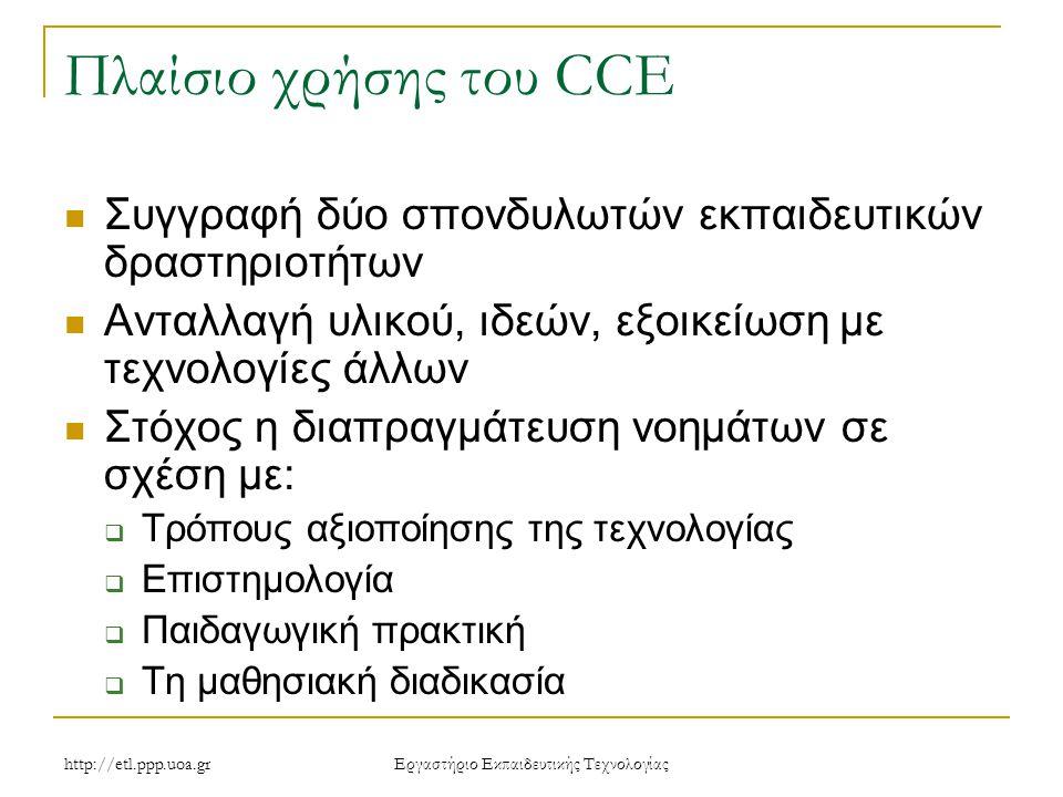 http://etl.ppp.uoa.gr Eργαστήριο Εκπαιδευτικής Τεχνολογίας Πλαίσιο χρήσης του CCE Συγγραφή δύο σπονδυλωτών εκπαιδευτικών δραστηριοτήτων Ανταλλαγή υλικού, ιδεών, εξοικείωση με τεχνολογίες άλλων Στόχος η διαπραγμάτευση νοημάτων σε σχέση με:  Τρόπους αξιοποίησης της τεχνολογίας  Επιστημολογία  Παιδαγωγική πρακτική  Τη μαθησιακή διαδικασία