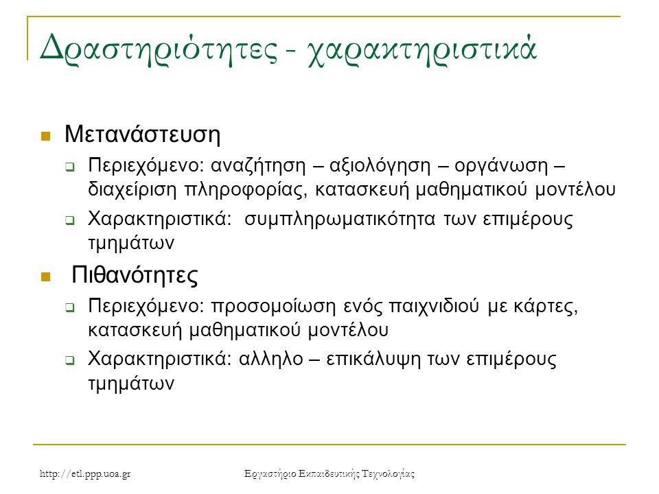 http://etl.ppp.uoa.gr Eργαστήριο Εκπαιδευτικής Τεχνολογίας Δραστηριότητες - χαρακτηριστικά Μετανάστευση  Περιεχόμενο: αναζήτηση – αξιολόγηση – οργάνωση – διαχείριση πληροφορίας, κατασκευή μαθηματικού μοντέλου  Χαρακτηριστικά: συμπληρωματικότητα των επιμέρους τμημάτων Πιθανότητες  Περιεχόμενο: προσομοίωση ενός παιχνιδιού με κάρτες, κατασκευή μαθηματικού μοντέλου  Χαρακτηριστικά: αλληλο – επικάλυψη των επιμέρους τμημάτων