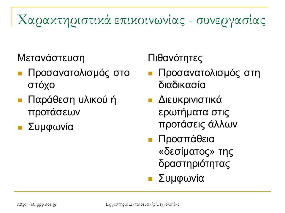 http://etl.ppp.uoa.gr Eργαστήριο Εκπαιδευτικής Τεχνολογίας Χαρακτηριστικά επικοινωνίας - συνεργασίας Μετανάστευση Προσανατολισμός στο στόχο Παράθεση υλικού ή προτάσεων Συμφωνία Πιθανότητες Προσανατολισμός στη διαδικασία Διευκρινιστικά ερωτήματα στις προτάσεις άλλων Προσπάθεια «δεσίματος» της δραστηριότητας Συμφωνία