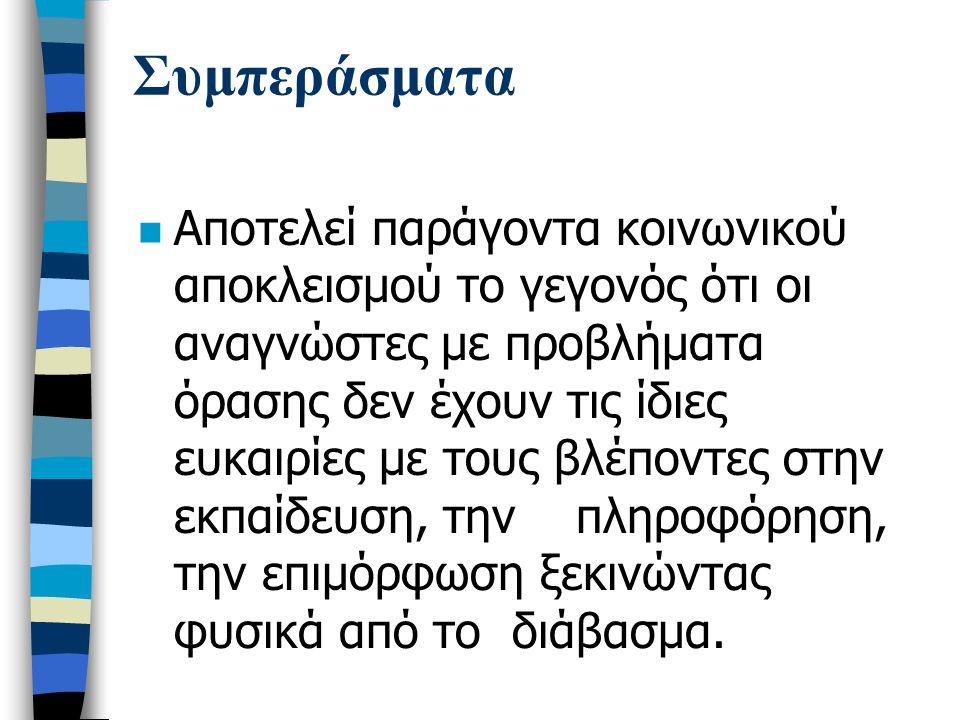 Συμπεράσματα n Καμία από τις 32 Δημοτικές Βιβλιοθήκες του πολεοδομικού συγκροτήματος της Θεσσαλονίκης, δεν παρέχει κανενός είδους πρόσβαση στις υπηρεσίες της στους τυφλούς και μερικώς βλέποντες δημότες.