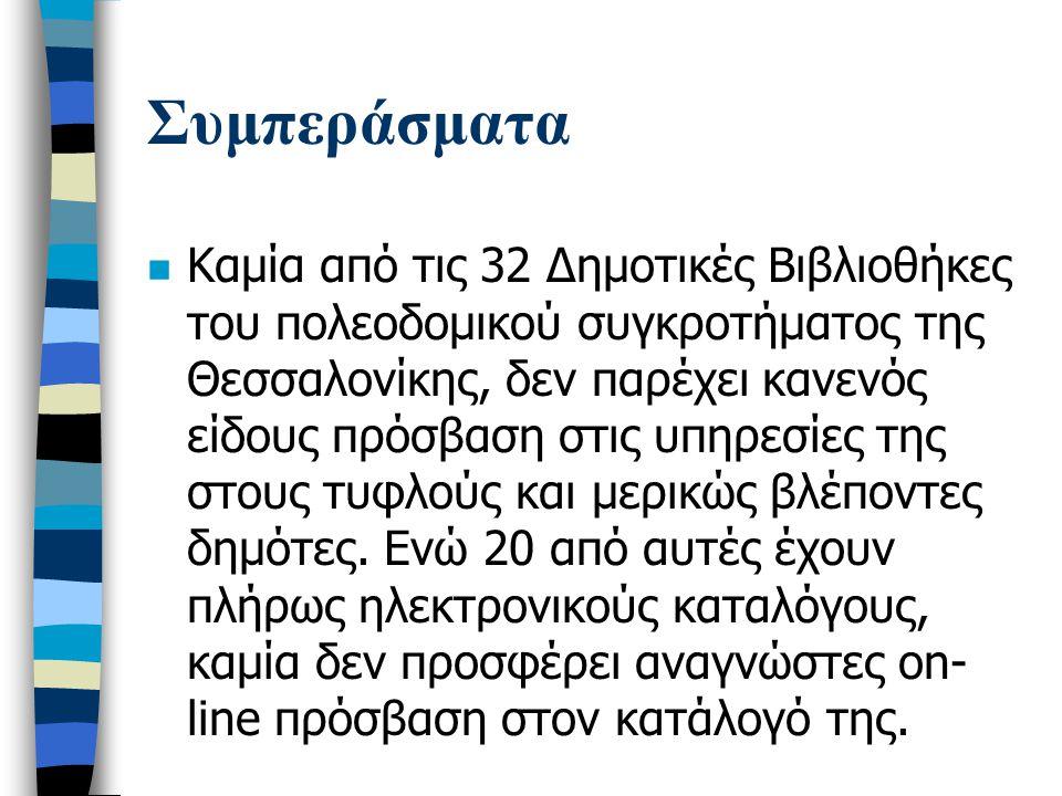 Συμπεράσματα n Καμία ειδική τεχνολογία, υλικό σε εναλλακτική μορφή, ή άλλη εναλλακτική υπηρεσία δεν παρέχεται στους φοιτητές που δεν βλέπουν από τις Βιβλιοθήκες των Ανωτάτων και των Τεχνολογικών Εκπαιδευτικών Ιδρυμάτων στη Θεσσαλονίκη.