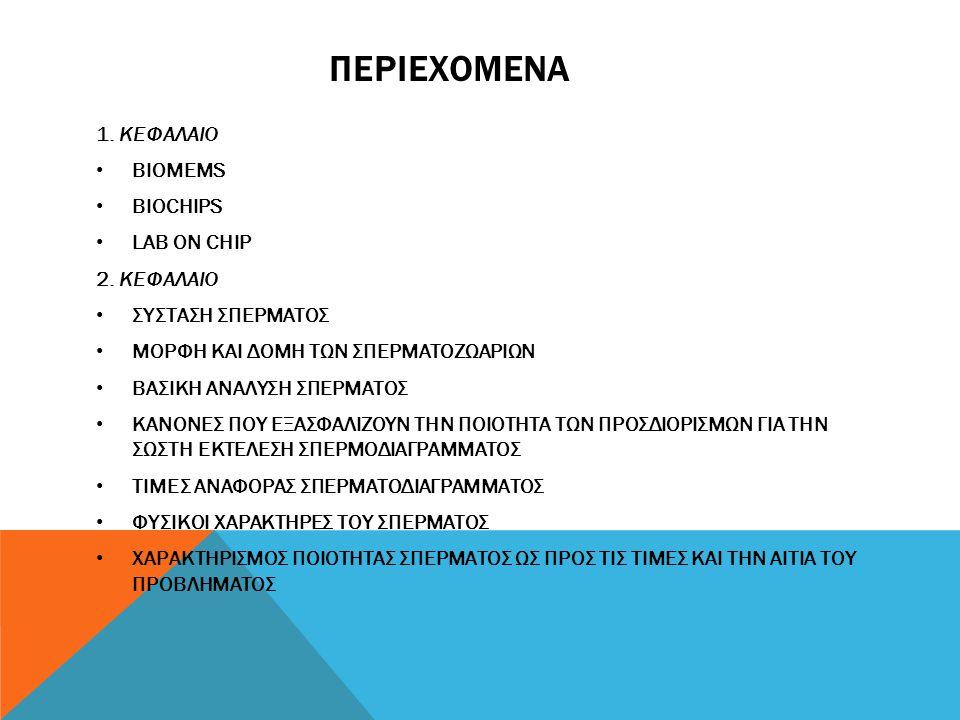 ΠΕΡΙΕΧΟΜΕΝΑ 1. ΚΕΦΑΛΑΙΟ BIOMEMS BIOCHIPS LAB ON CHIP 2. ΚΕΦΑΛΑΙΟ ΣΥΣΤΑΣΗ ΣΠΕΡΜΑΤΟΣ ΜΟΡΦΗ ΚΑΙ ΔΟΜΗ ΤΩΝ ΣΠΕΡΜΑΤΟΖΩΑΡΙΩΝ ΒΑΣΙΚΗ ΑΝΑΛΥΣΗ ΣΠΕΡΜΑΤΟΣ ΚΑΝΟΝΕΣ