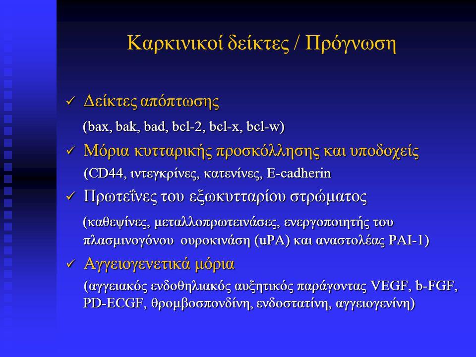 Επιθηλιακής αρχής νεοπλάσματα Ορμονικοί υποδοχείς (ER, PR) Ορμονικοί υποδοχείς (ER, PR) Κύριες μέθοδοι ανίχνευσης Κύριες μέθοδοι ανίχνευσης Ενζυμικές μέθοδοι, Ανοσοϊστοχημεία Ενζυμικές μέθοδοι, Ανοσοϊστοχημεία
