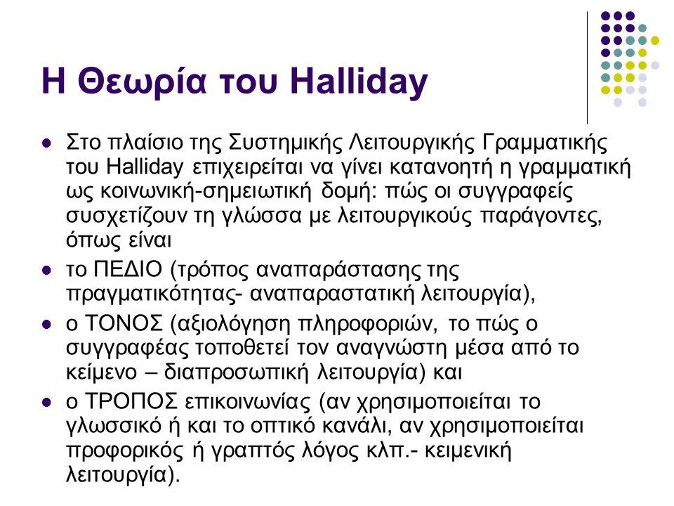 Βασικές θέσεις της θεωρίας του HALLIDAY Η γλώσσα εκλαμβάνεται ως ένα σύνολο επιλογών.