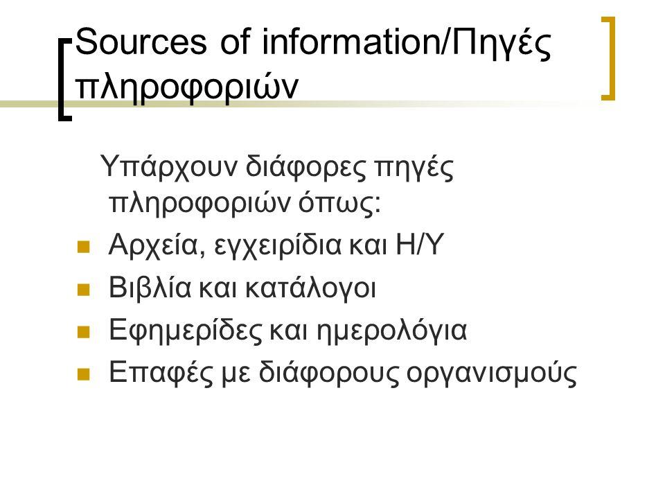 Sources of information/Πηγές πληροφοριών Υπάρχουν διάφορες πηγές πληροφοριών όπως: Αρχεία, εγχειρίδια και Η/Υ Βιβλία και κατάλογοι Εφημερίδες και ημερολόγια Επαφές με διάφορους οργανισμούς
