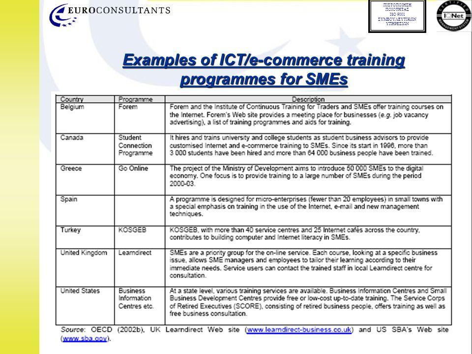 01.02.02 ΠΙΣΤΟΠΟΙΗΣΗ ΠΟΙΟΤΗΤΑΣ ISO 9001 ΣΥΜΒΟΥΛΕΥΤΙΚΩΝ ΥΠΗΡΕΣΙΩΝ Examples of ICT/e-commerce training programmes for SMEs