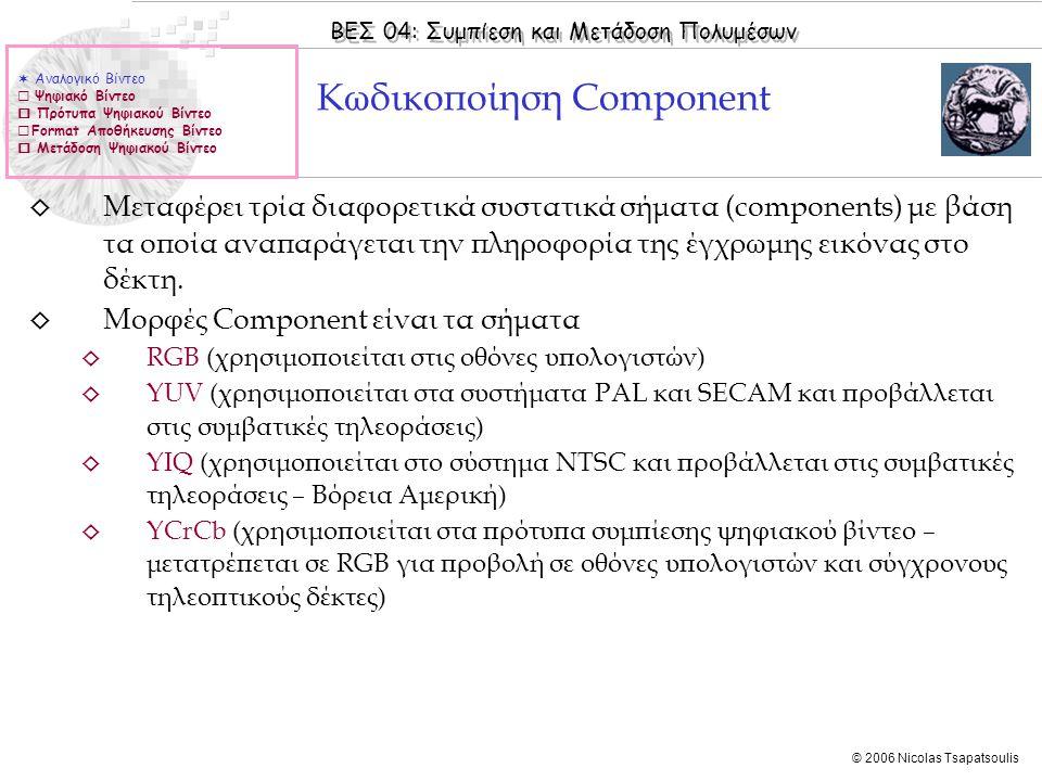 ΒΕΣ 04: Συμπίεση και Μετάδοση Πολυμέσων © 2006 Nicolas Tsapatsoulis ◊ Μεταφέρει τρία διαφορετικά συστατικά σήματα (components) με βάση τα οποία αναπαράγεται την πληροφορία της έγχρωμης εικόνας στο δέκτη.