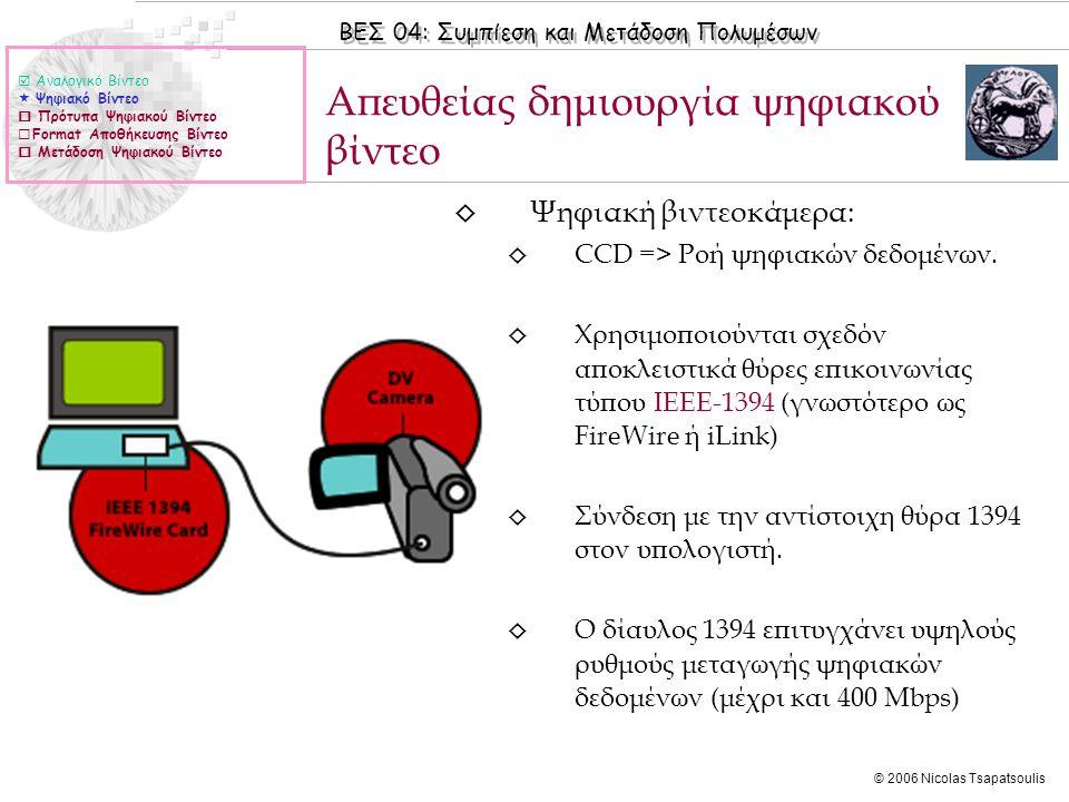 ΒΕΣ 04: Συμπίεση και Μετάδοση Πολυμέσων © 2006 Nicolas Tsapatsoulis ◊ Ψηφιακή βιντεοκάμερα: ◊ CCD => Ροή ψηφιακών δεδομένων.