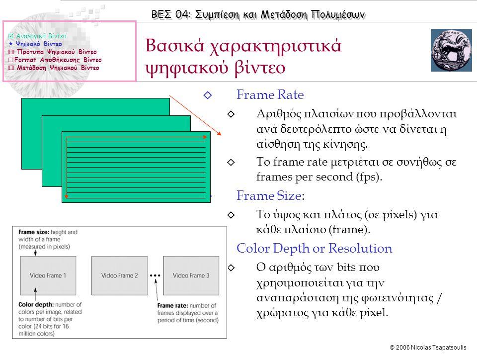 ΒΕΣ 04: Συμπίεση και Μετάδοση Πολυμέσων © 2006 Nicolas Tsapatsoulis ◊ Frame Rate ◊ Αριθμός πλαισίων που προβάλλονται ανά δευτερόλεπτο ώστε να δίνεται η αίσθηση της κίνησης.