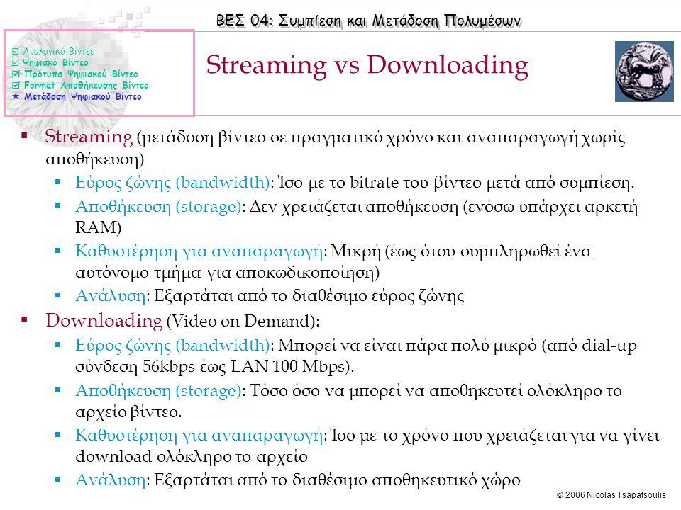 ΒΕΣ 04: Συμπίεση και Μετάδοση Πολυμέσων © 2006 Nicolas Tsapatsoulis Streaming vs Downloading  Αναλογικό Βίντεο  Ψηφιακό Βίντεο  Πρότυπα Ψηφιακού Βίντεο  Format Αποθήκευσης Βίντεο  Μετάδοση Ψηφιακού Βίντεο  Streaming (μετάδοση βίντεο σε πραγματικό χρόνο και αναπαραγωγή χωρίς αποθήκευση)  Εύρος ζώνης (bandwidth): Ίσο με το bitrate του βίντεο μετά από συμπίεση.