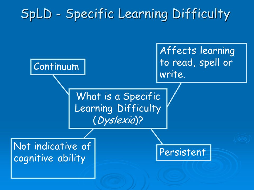 Continuum Affects learning to read, spell or write. Not indicative of cognitive ability Persistent What is a Specific Learning Difficulty (Dyslexia)?