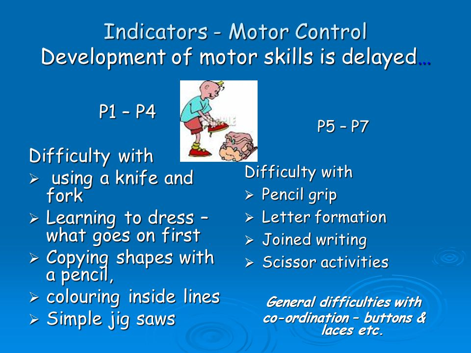 Indicators-Behaviour  Easily distracted – use of avoidance tactics when asked to read aloud or write.