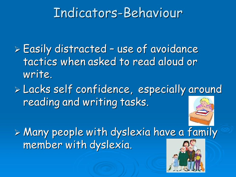 Indicators - Reading Difficulty with-  Learning Key words  Reads slowly with little expression or fluency  Comprehension reading test scores may be higher than sight vocabulary reading test scores (due to higher IQ).