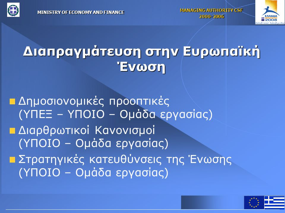 MINISTRY OF ECONOMY AND FINANCE MANAGING AUTHORITY CSF 2000-2006 Διαπραγμάτευση στην Ευρωπαϊκή Ένωση Δημοσιονομικές προοπτικές (ΥΠΕΞ – ΥΠΟΙΟ – Ομάδα εργασίας) Διαρθρωτικοί Κανονισμοί (ΥΠΟΙΟ – Ομάδα εργασίας) Στρατηγικές κατευθύνσεις της Ένωσης (ΥΠΟΙΟ – Ομάδα εργασίας)