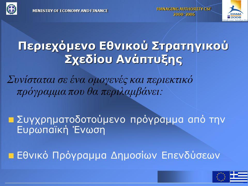 MINISTRY OF ECONOMY AND FINANCE MANAGING AUTHORITY CSF 2000-2006 Περιεχόμενο Εθνικού Στρατηγικού Σχεδίου Ανάπτυξης Συνίσταται σε ένα ομογενές και περιεκτικό πρόγραμμα που θα περιλαμβάνει: Συγχρηματοδοτούμενο πρόγραμμα από την Ευρωπαϊκή Ένωση Εθνικό Πρόγραμμα Δημοσίων Επενδύσεων