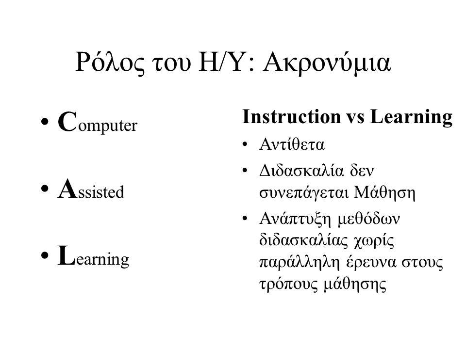 Ρόλος του Η/Υ: Ακρονύμια C omputer A ssisted L earning Instruction vs Learning Αντίθετα Διδασκαλία δεν συνεπάγεται Μάθηση Ανάπτυξη μεθόδων διδασκαλίας