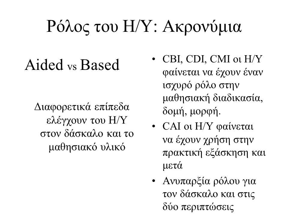 Ρόλος του Η/Υ: Ακρονύμια Aided vs Based Διαφορετικά επίπεδα ελέγχουν του Η/Υ στον δάσκαλο και το μαθησιακό υλικό CBI, CDI, CMI οι Η/Υ φαίνεται να έχου