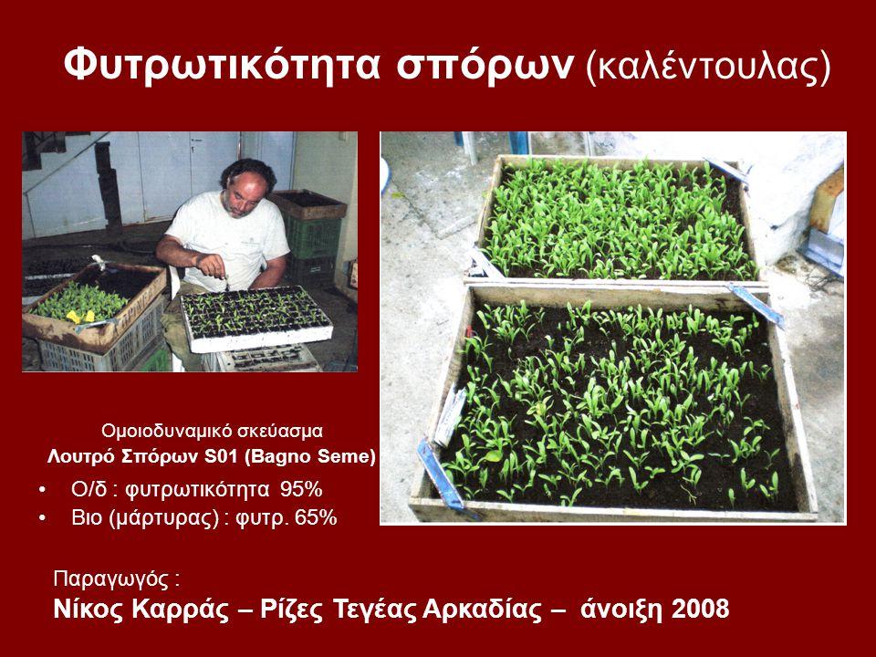 Φυτρωτικότητα σπόρων (καλέντουλας) Ομοιοδυναμικό σκεύασμα Λουτρό Σπόρων S01 (Bagno Seme) Ο/δ : φυτρωτικότητα 95% Βιο (μάρτυρας) : φυτρ. 65% Παραγωγός
