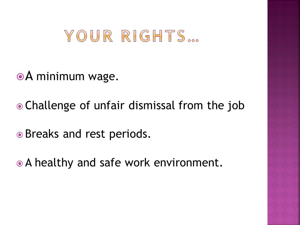  A minimum wage.  Challenge of unfair dismissal from the job  Breaks and rest periods.