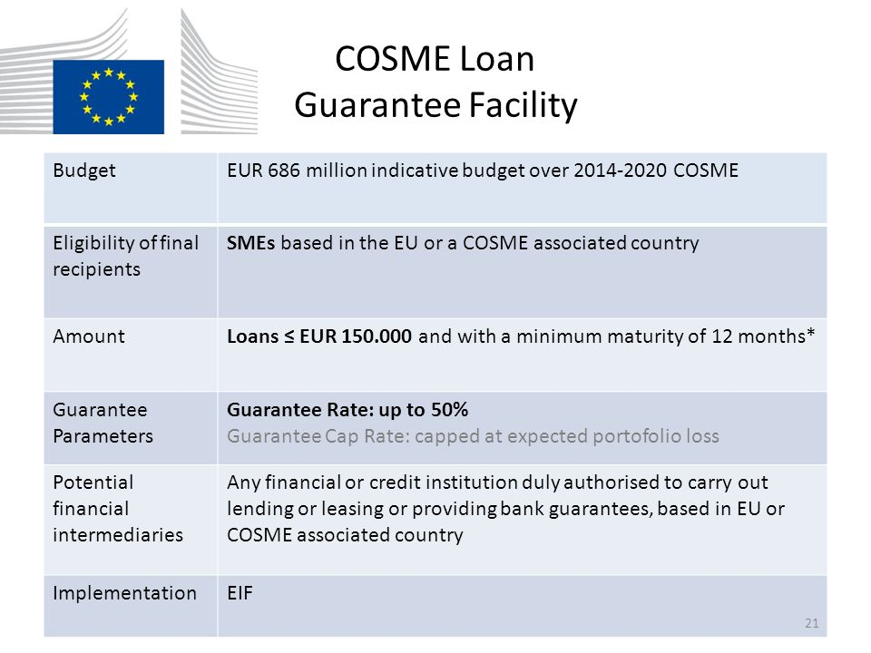 COSME Loan Guarantee Facility BudgetEUR 686 million indicative budget over 2014-2020 COSME Eligibility of final recipients SMEs based in the EU or a C