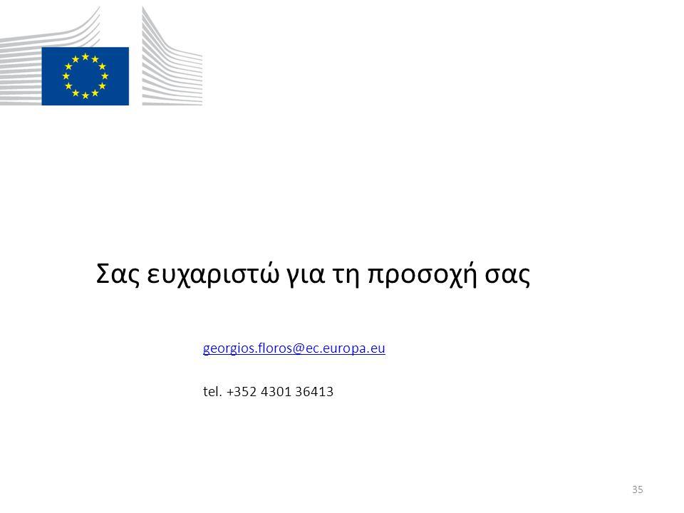 Σας ευχαριστώ για τη προσοχή σας georgios.floros@ec.europa.eugeorgios.floros@ec.europa.eu tel.