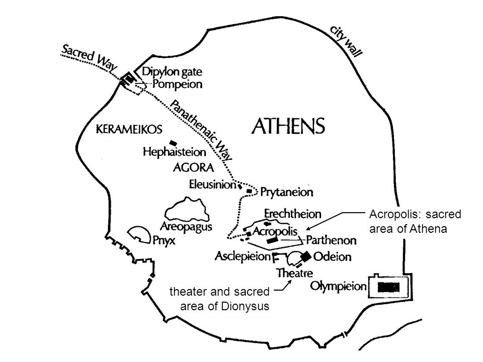 theater and sacred area of Dionysus Acropolis: sacred area of Athena