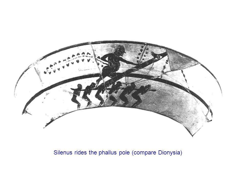 Silenus rides the phallus pole (compare Dionysia)