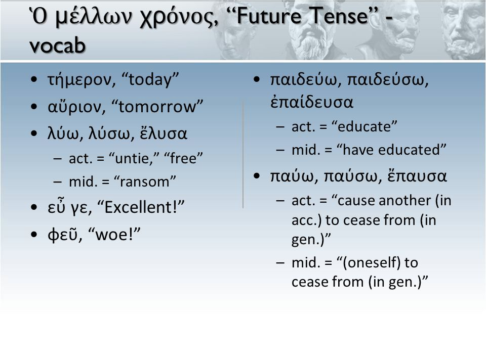 indicativeimperativeinfinitive participle FUT PRES FUT/PRES will go go.